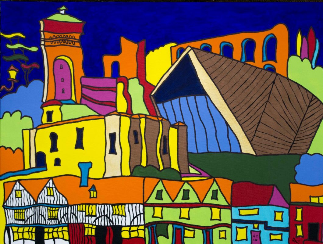 Colchester, town, montage, commission, vivid, bright, colourful