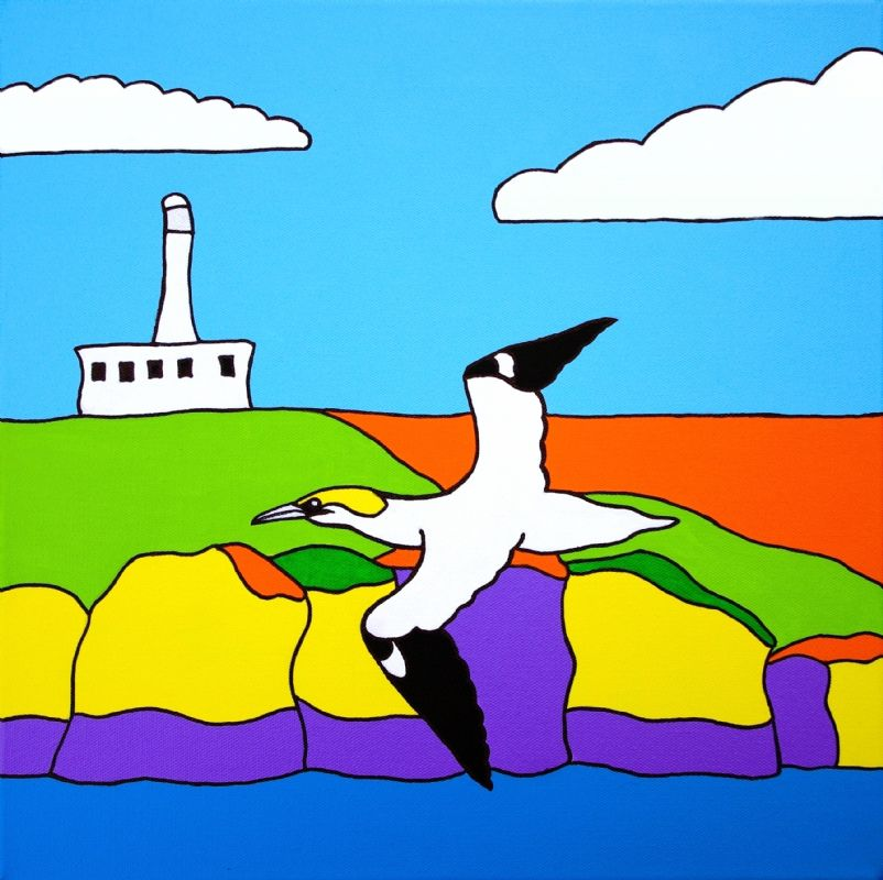 Gannets at Flamborough Lighthouse Painting by Rob Soar