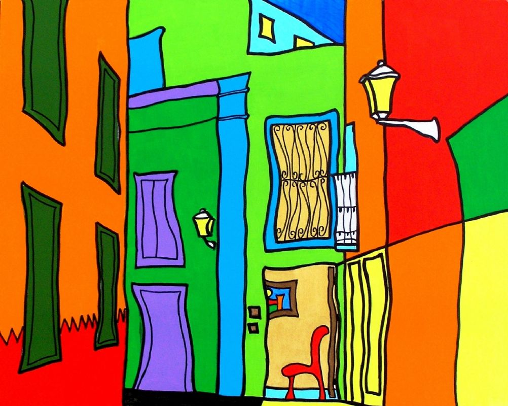 Red Chair,Spain,Street Scene,Artist,painting,Rob Soar